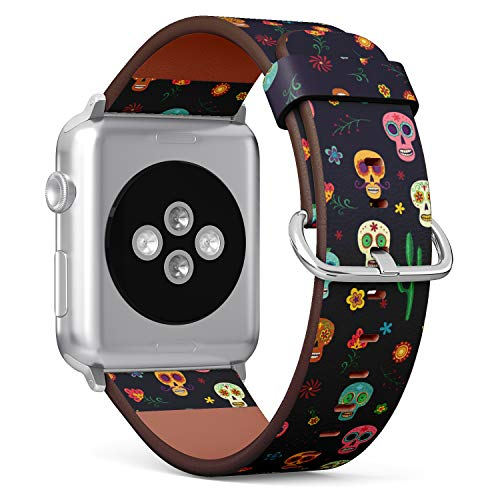(Mexican Sugar Skull, Cactus and Flower on Wallpaper The Day of The Dead) Patterned Leather Wristband Strap for Apple Watch Series 4/3/2/1 gen,Replacement for iWatch 42mm / 44mm Bands ()