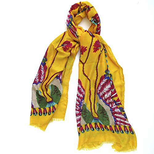 Corona Collection Feathers Headdress Scarf Yellow (Feathered Headdress)