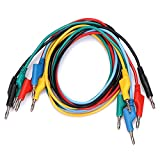 Sumnacon 5pcs Banana to Banana Plug Test Lead Set, 4mm Stackable Banana Plug Wire Soft Silicone Test Cable Lead for Multimeter, 1m Silicone Electrical Test Wire 1000V/15A