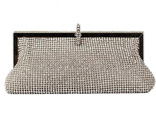 Missfiona Sparkly Glitter Formal Clutch Purse Wedding Party Evening Bag for Women(Silver Grey) ()