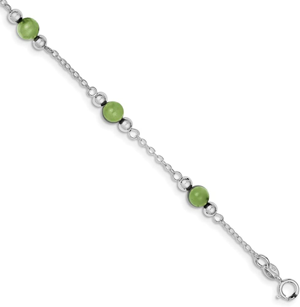 Beautiful Sterling silver 925 sterling Sterling Silver Rhodium-plated 9inch Polished Green Jade Anklet