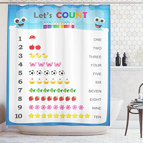 (Count to Ten Educational Numbers Digital Print Home Fashion Bathroom Art Prints Numbers Kids Play Children Special Education Daycare Kindergarden Decor Shower Curtain, Blue White Red Yellow Pink Green)
