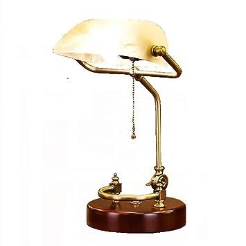 LKJNB Retro LED lámpara de Mesa/Antiguo clásico banqueros lámpara de Escritorio/Oficina lámpara de Lectura con Amarillo imitación mármol Pantalla giratoria ...