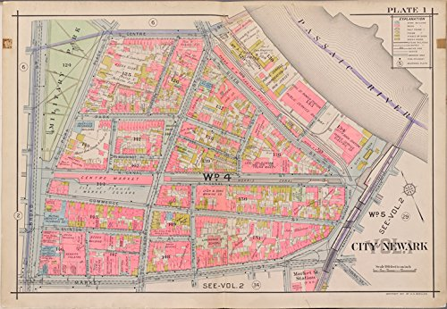 Historic 1911-12 Map | Newark, V. 1, Double Page Plate No. 1 [Map bounded by Centre St., Passaic River, Market St., Broad St.] | Newark (N.J.)Atlases of the United States |