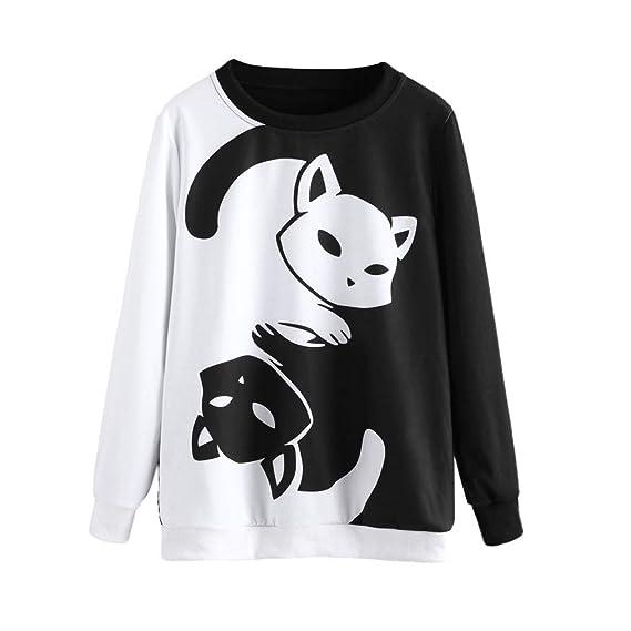 Bestow Invierno Damas impresión Gato suéter de Manga Larga Sudadera Pullover Tops Blusa suéter Chaleco: Amazon.es: Ropa y accesorios