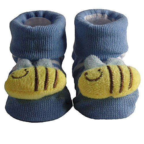 Cute Infant Baby Cotton Socks Shoes, 0 to 6 Months (0-6 Months, Light Blue Bumblebee) -