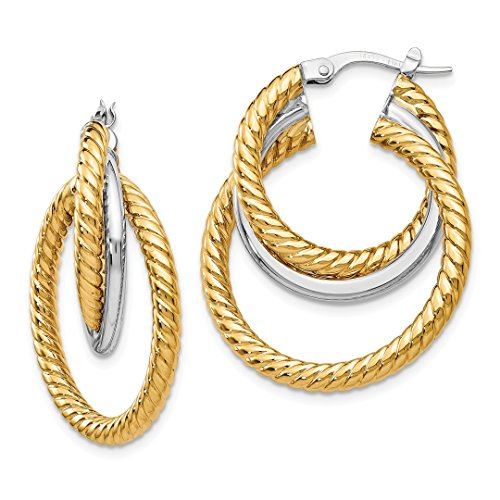 14k Two Tone Yellow Gold Textured Tri Hoop Earrings Ear Hoops Set Fine Jewelry For Women Gift Set ()