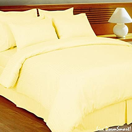 Amazon Com Luxurious Egyptian Cotton 800 Thread Count Striped Duvet Cover Queen Light Yellow Home Kitchen