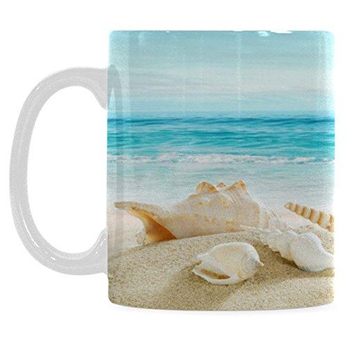 InterestPrint 11 Ounce White Ceramic Seashell Starfish Hawaii Summer Beach Sea Ocean Seascape Seaside Waves Blue White Funny Travel Coffee Mug Cup, Christmas Birthday Gifts for Men Women Him Her (Drinking Seashell Glasses)