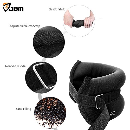 JBM Ankle Weights Wrist Leg Weights Sand Filling 2lb 4lb 6lb (1 Pair) Adjustable Straps for Walking Jogging Gym Fitness Exercise Gymnastics Aerobics 3 colours