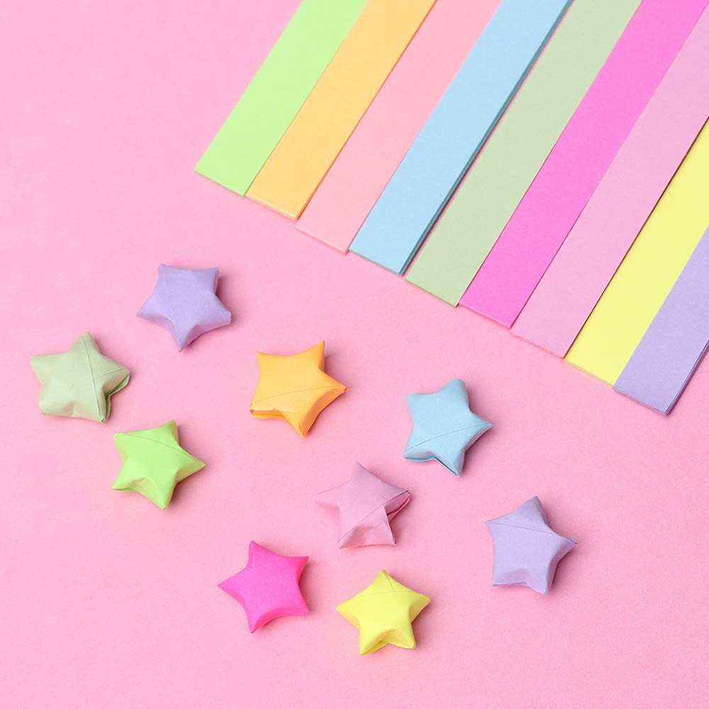 140 Sheets Origami Stars Papers Double Sided Folding Strips Mixed Color