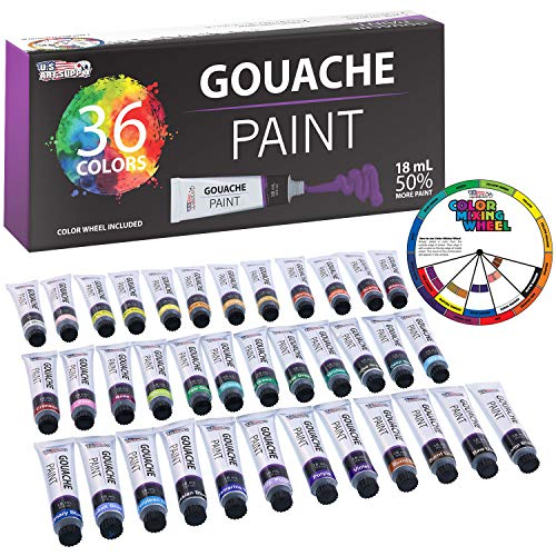 U.S. Art Supply Professional 36 Color Set of Gouache Paint in Large 18ml Tubes - Bonus Color Mixing Wheel