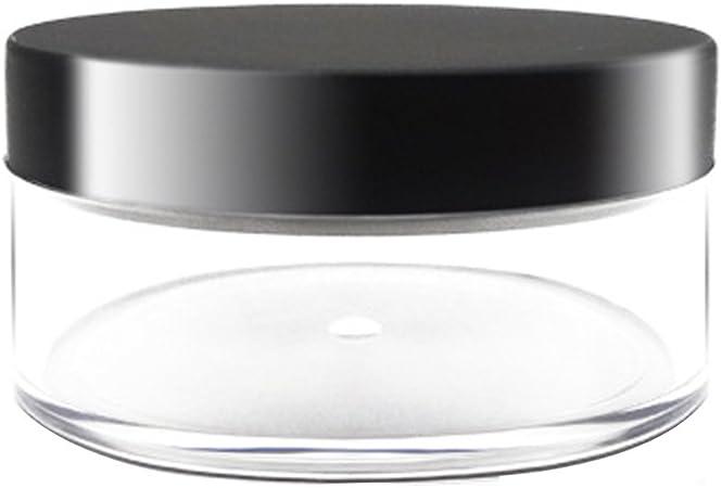 Image ofTarro de polvo suelto plástico 50g con el recipiente cosmético vacío negro Maquillaje de tapa mate cosmético compacto