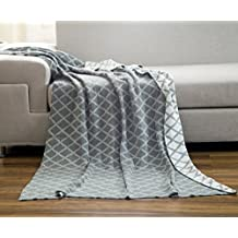 DOKOT Gray and White Diamond Check Pattern 100% Cotton Knitted Throw Blanket (51x63 inches, Gray Diamond Check)