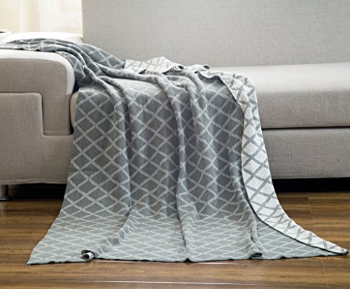Checks Knitting Patterns (DOKOT Gray and White Diamond Check Pattern 100% Cotton Knitted Throw Blanket (51x63 inches, Gray Diamond Check))