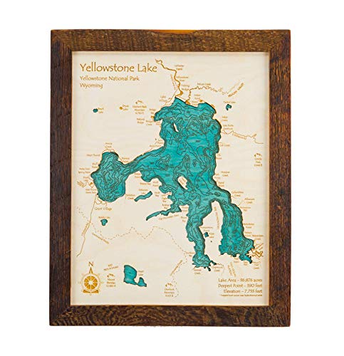(Rush Lakes (East and West Lakes) - Chisago County - MN - 2D Map 11 x 14 in (Brown Rustic Frame with Glass) - Laser Carved Wood Nautical Chart and Topographic Depth map.)