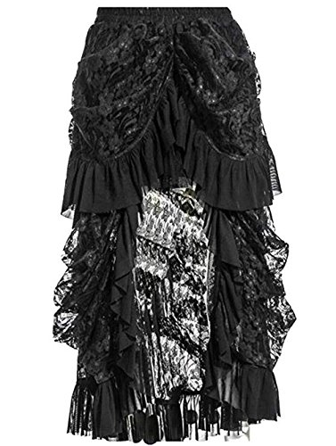 (Coswe Women's Black Lace Victoria Gothic Long Maxi Skirt for Party)