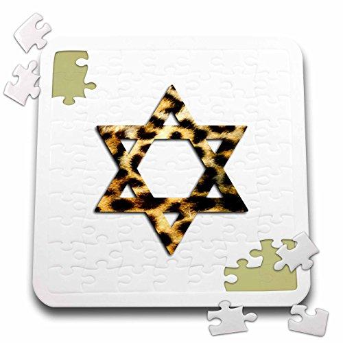 3dRose InspirationzStore Judaica - Star of David in Faux Leopard Print Pattern. Funky Cheetah Magen David - 10x10 Inch Puzzle (pzl_185509_2) -