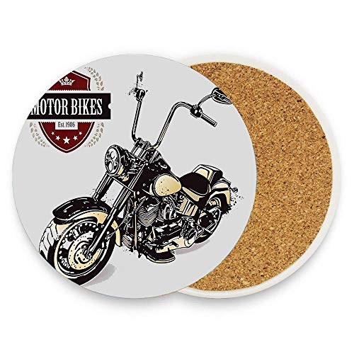 MichelleSmithred Motorcycle Stall Chopper Customized Motorcycle Club Insignia Motor Bikes Hippie Classic Black Beige Ceramic Coaster Absorbent Stone Coaster for Coffee Mug Glass Cup Mat 1 Piece