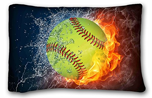 Tarolo Custom Softball Art Pattern Pillowcase Cushion Cover Design Standard Size 20x30 Inches Two Sided ()