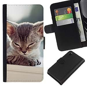 Kitten Sleepy Balinese Tonkinese Cat - la tarjeta de Crédito Slots PU Funda de cuero Monedero caso cubierta de piel Sony Xperia Z3 D6603