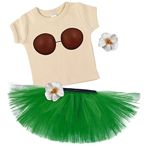 [Hula Dancer Girl Coconut Top & Green Tutu Costume w/ 2 Tropical Flowers-4] (Make Coconut Bra Costume)
