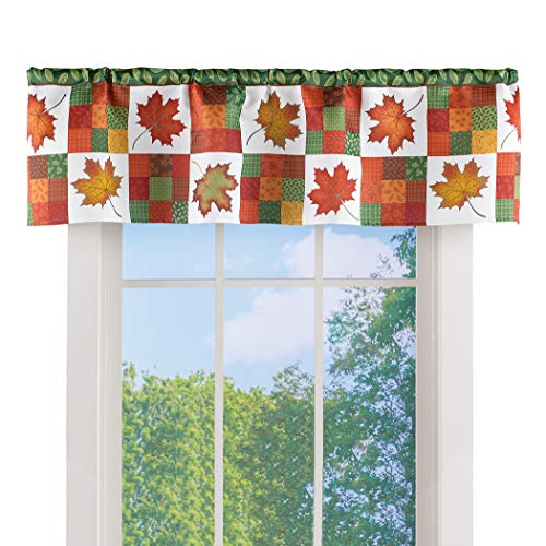 Collections Etc Fall Colors Maple Leaves Patchwork Window Valance | Thanksgiving, Autumn, Fall Seasonal D�cor…