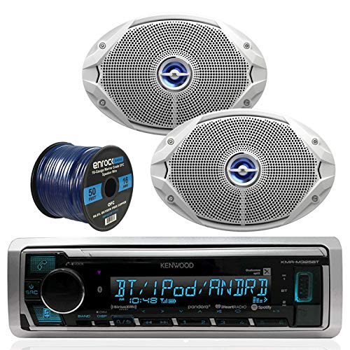 Kenwood Bluetooth Radio KMR-M315BT In-Dash Marine Audio Receiver Bundle Combo With 2x JBL MS9520 6x9