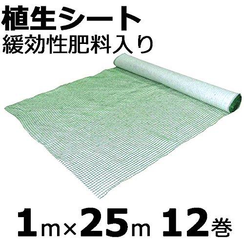 【本州限定販売】【12巻】 植生シート 緩効性肥料入 1×25m 金目串付き 緑化資材 植生 シート 法面 のり面 新日本緑化 共B代不 B01KZ2AAOI