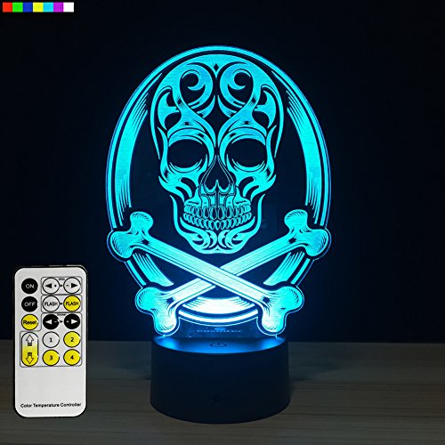 Halloween Lights Skull lamp 3d Night Light 7 Colors Change with Remote New Halloween Gifts for Kids or Halloween Decorations 2017 by Easuntec (Skull)