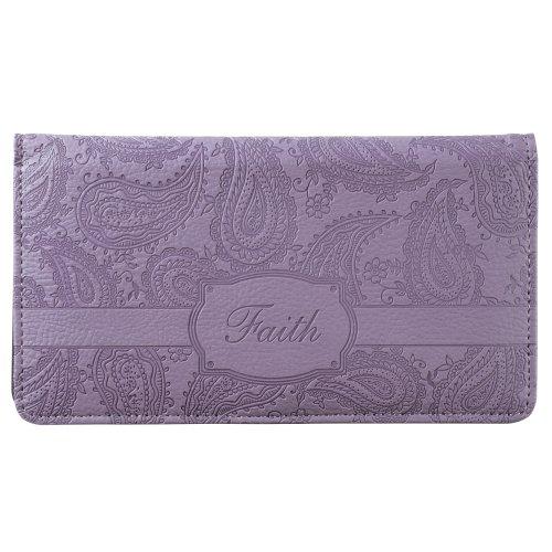 """Faith"" Purple Paisley Checkbook Cover"