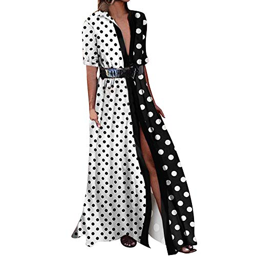 HHmei Elegant Casual Summer Fashion Dots Printed Long Loose Oversized by HHmei
