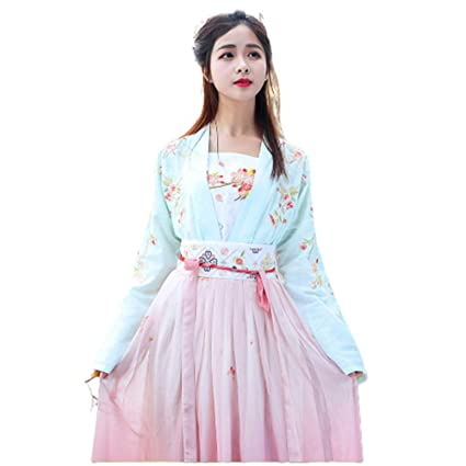 b345b47e1 Amazon.com: Women's Chinese Style Clothes,Tang Suit Printing National  Traditional Retro Hanfu Long Sleeve Cosplay Performances Costume,Green,S:  Home & ...