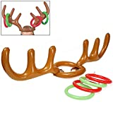 G4GADGET Children Kids Inflatable Santa Funny Reindeer Antler Hat Ring Toss Christmas Holiday Party Game Supplies Toys