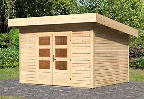 Karibu Woodfeeling Gartenhaus Northeim 2 naturbelassen 40 mm Außenmaß (B x T): 309 x 259 cm Dachstand (B x T): 358 x 299 cm Wandstärke: 40 mm umbauter Raum: 16,0 cbm Bauweise: Steck-/Schraubsystem Ausführung: naturbelassen