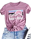 Enmeng Womens Casual Take A Hike Letter Print T-Shirt Short Sleeve Hiker Tee Tops (XL, Pink)