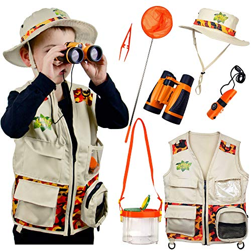 Safari Kidz Outdoor Adventure Set. Perfect Safari, Christmas, Hunting, Park Ranger Costume with Vest, Hat, Binoculars, Bug Net, Bug Container, Whistle, Flashlight, Magnifying Glass, Tweezers (Jungle Kids Costume)