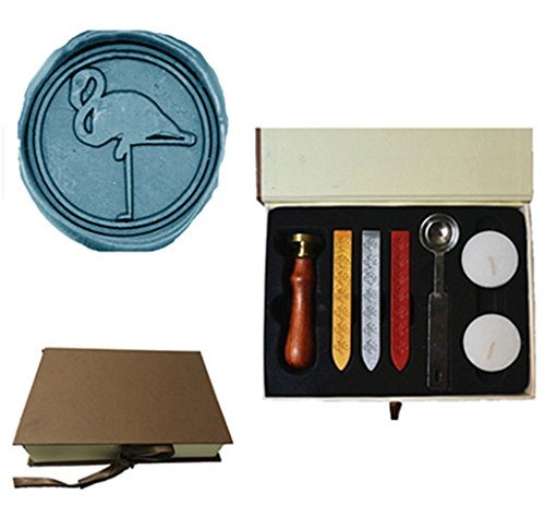 Crane Paper Wedding Invitations - MNYR Vintage Lovely Crane Flamingo Decorative Wedding Invitations Gift Cards Paper Stationary Envelope Seals Wax Seal Stamp Sealing Wax Stamp Gift Box Candles Wax Sticks Melting Spoon Kit Set
