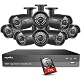 SANNCE 8 Channel 1080P DVR Home Security Cameras System with 2TB Surveillance Hard Drive and (8)HD 2.0MP Weatherproof Night Vision Indoor/Outdoor CCTV Surveillance Cameras