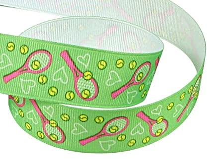 "9dfb703515d4 Hipgirl 5 Yards 7/8"" Sports Grosgrain Tennis Fabric Ribbon for Tennis  Gift Wrapping"