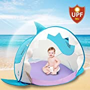 Hippo Creation Pop Up Baby Tent with UV Protection | Little Shark Shade | Breathable Beach Umbrella/Play Tent | Good for Beach and Indoor | Excellent for Infants and Toddlers