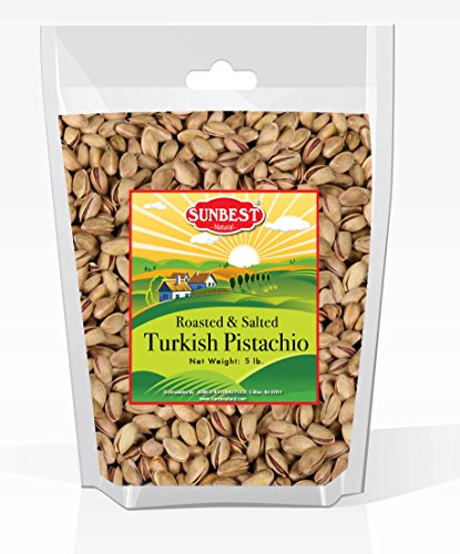 Antep Pistachios - SUNBEST TURKISH PISTACHIOS ANTEP ROASTED AND SALTED IN RESEALABLE BAG (5 Lb)