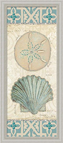 Beach Treasures II Emily Adams Sand Dollar Seashell Art Print Framed Picture Wall Décor Artwork
