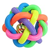 SODIAL(R) 6.5cm Diameter Cord Woven Jingle Bell Pet Dog Play Colorful Rubber Ball Toy