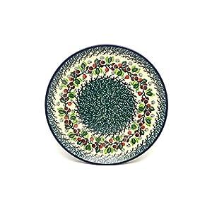 Polish Pottery Plate – 10″ Dinner – Burgundy Berry Green