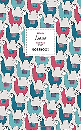 Llama Notebook - Ruled Pages - 5x8 - Premium Cuaderno (Mountain)