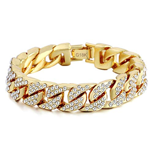 3 kiss Cuban Link Bracelet for Men Hip Hop Bracelet Stainless Steel Bracelet Chain Iced Out Chain Curb Cuban Chain with Clear Rhinestones Fashion Jewelry ()