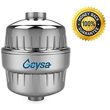 Geysa High Output Universal Shower Filter with Replaceable 2-Stage Filter Cartridge, Removes Chlorine and Other Harmful Substances From Your Water, Free Teflon Tape - Chrome