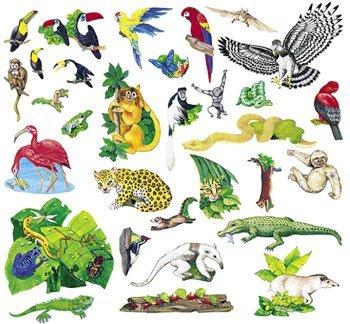 Little Folk Visual  Felt Fun - Jungle Rainforest Animals Set - 23 Precut Flannel Board Figures