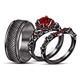 ArtLine Jewels 14K Black Gold 2.00CT Round Red Garnet Men's Wedding Ladies Engagement Trio Ring Set